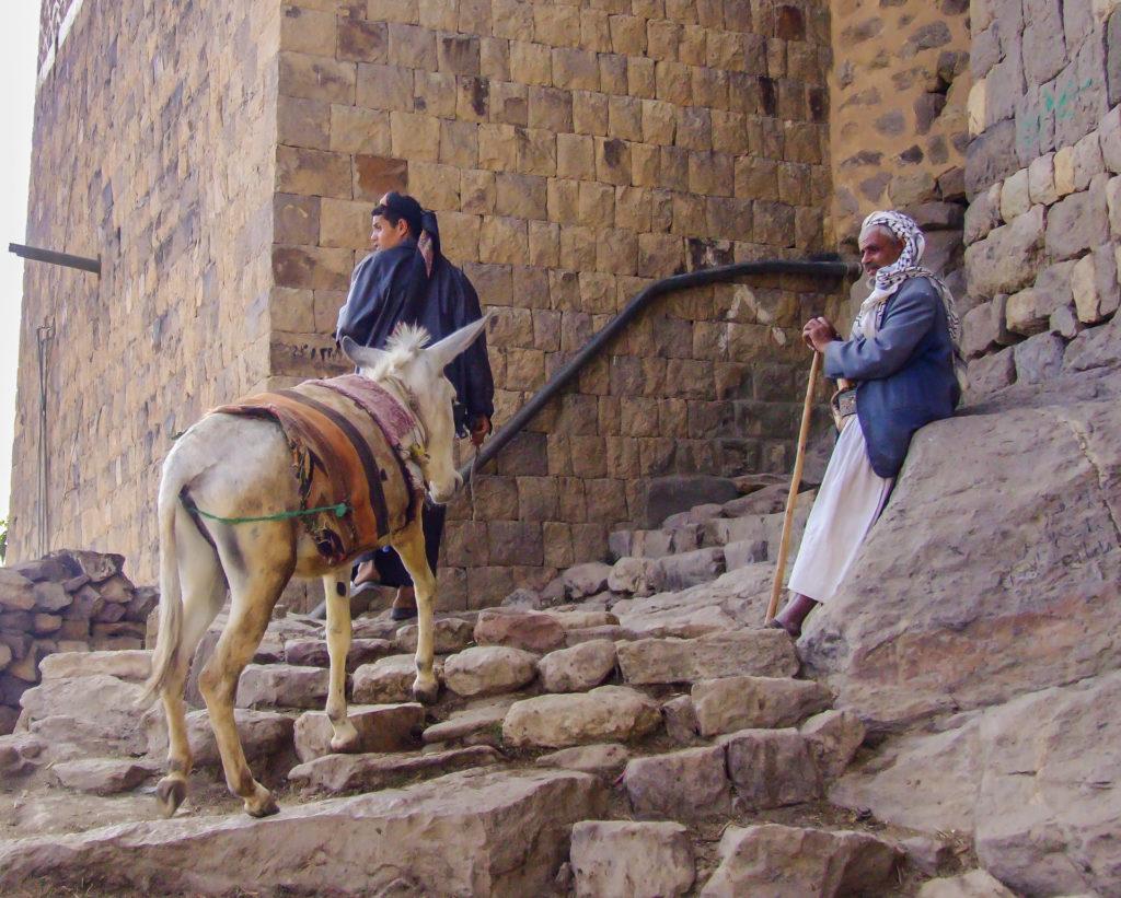 Männer mit Esel in Al Hajjarah