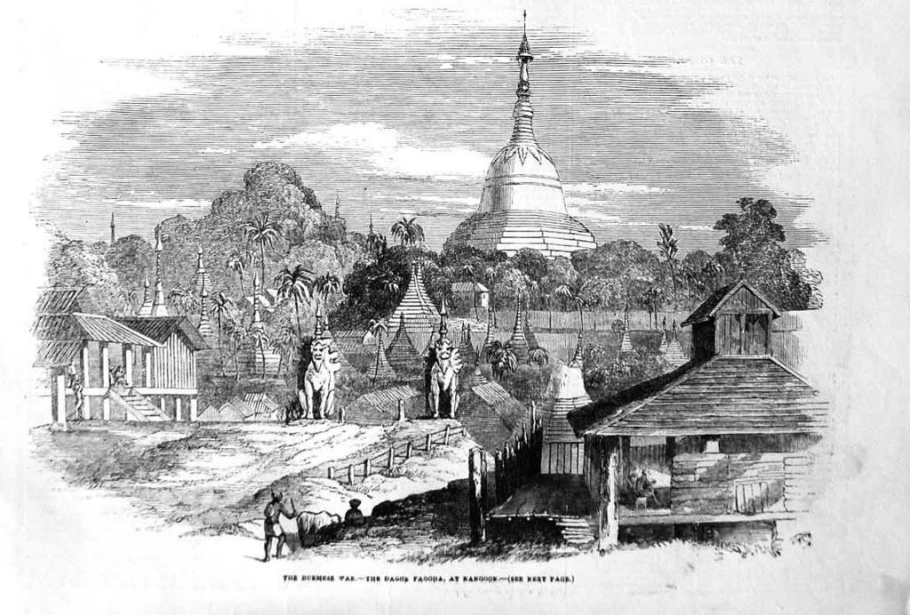 historische Zeichnung der Shwedagon Pagode