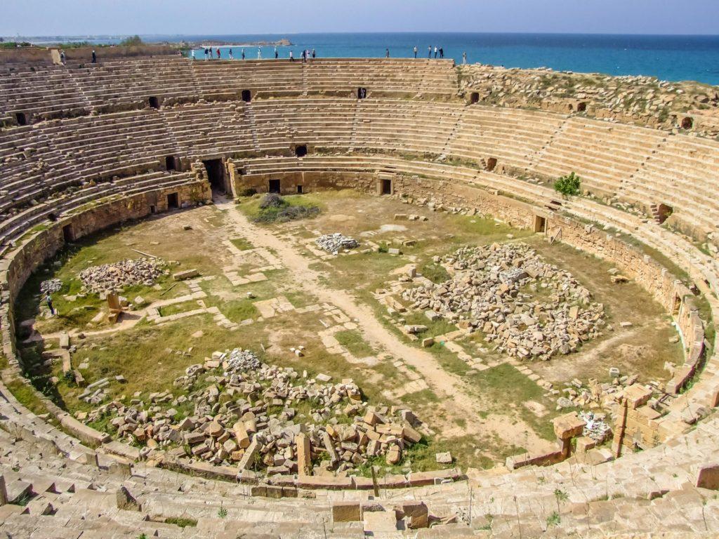 Das große Amphitheater von Leptis Magna