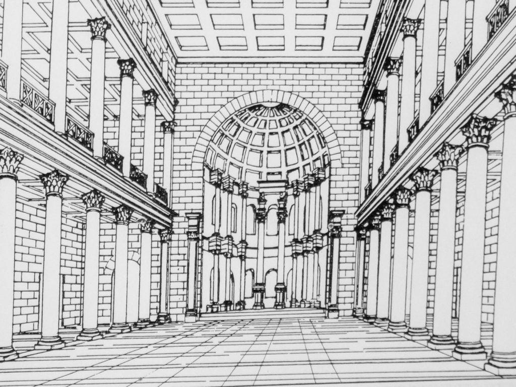 Zeichnung: So hat die Basilika in Leptis Magna einst vermutlich ausgesehen