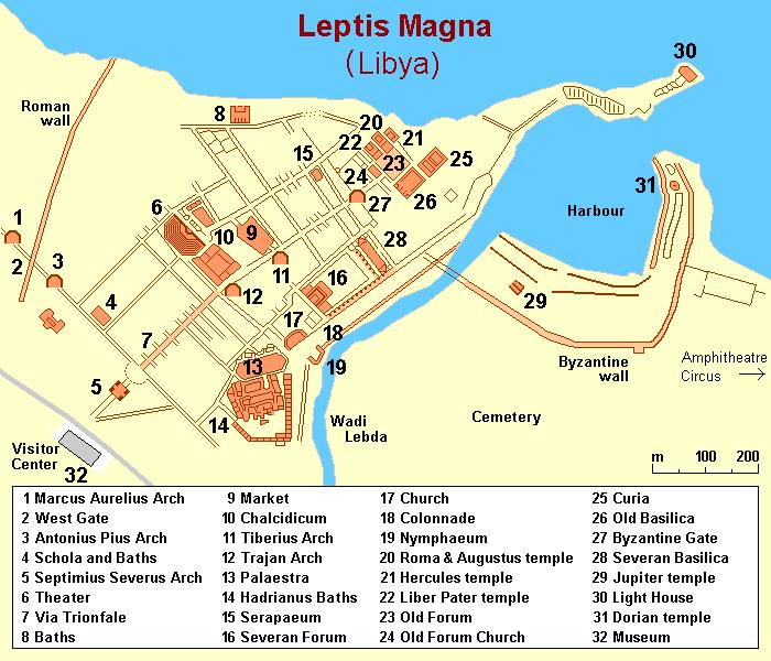 Zeichnung mit dem Grundriss von Leptis Magna