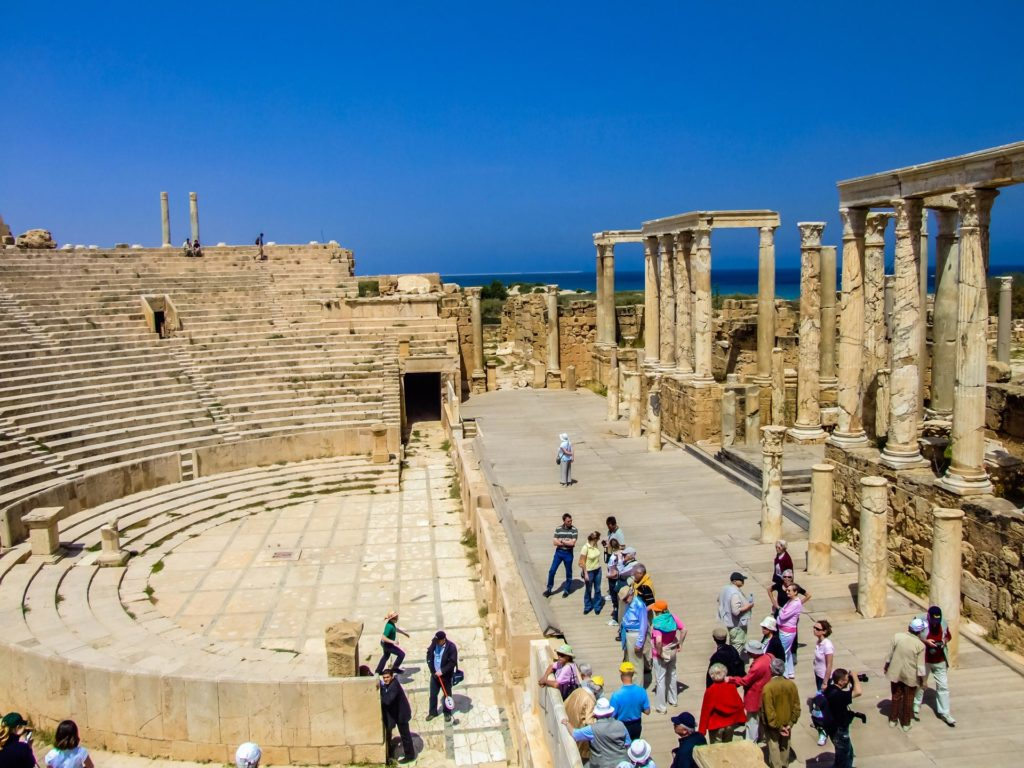 Das gut erhaltene Theater in Leptis Magna in Libyen