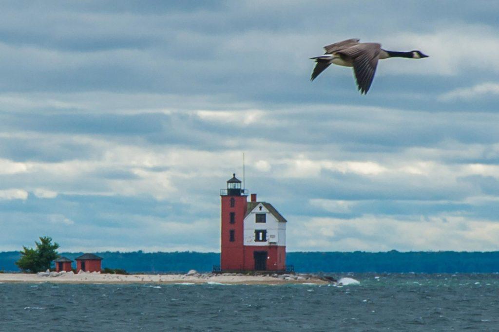 Round Island Lighthouse vor Mackinac Island